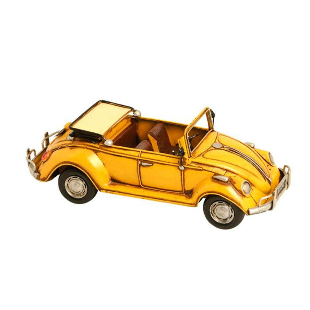 Miniatura Fusca Conversível Amarelo em Metal - 32x15 cm