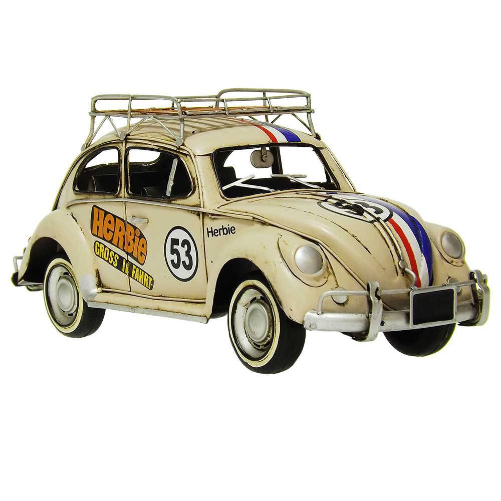 Miniatura Fusca de Corrida Modelo 1934 VW Beetle with Shelf em Ferro - 35x15 cm