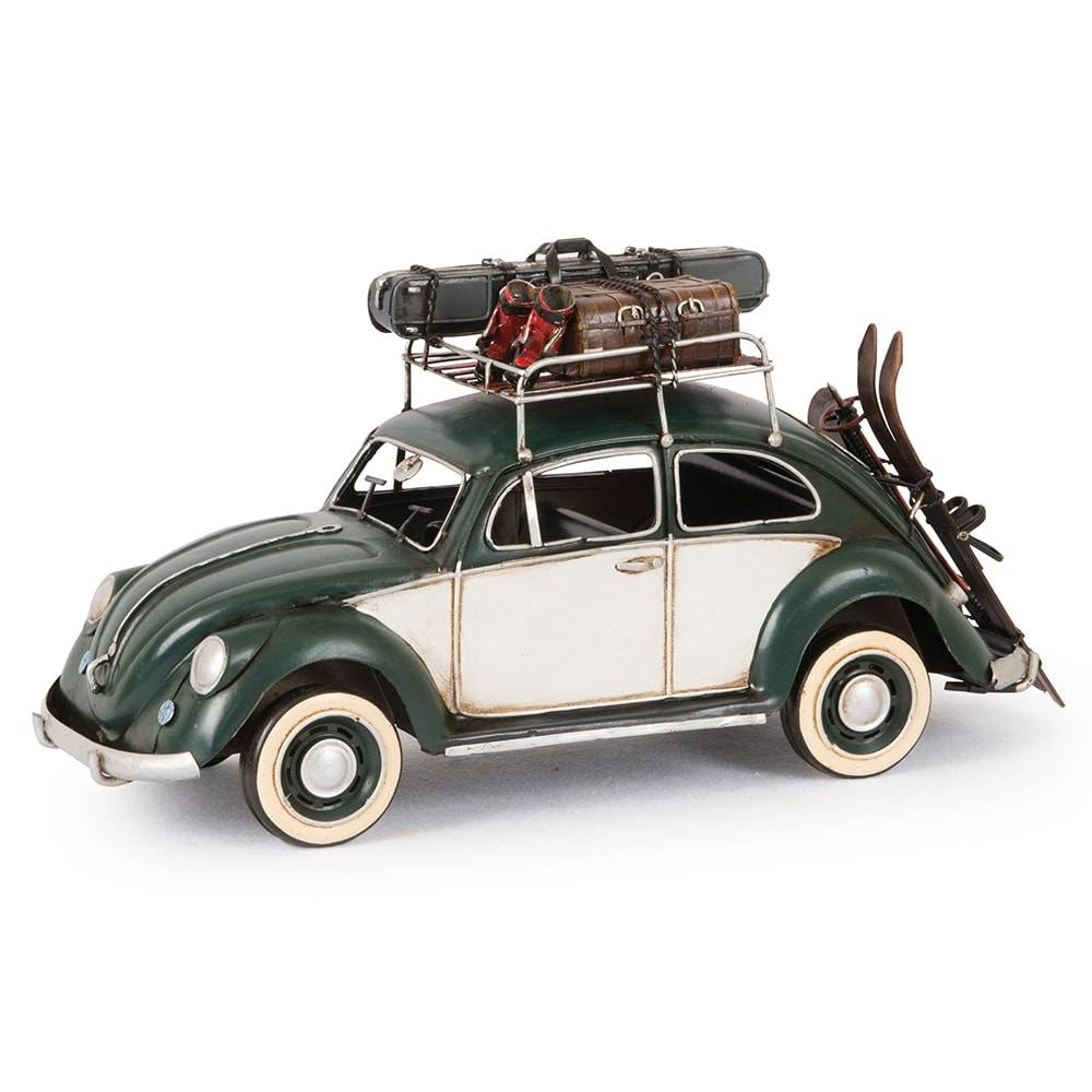 Miniatura Fusca Modelo 1934 Green VW Bettle Baggage Shelfskiboard em Ferro - 35x18 cm