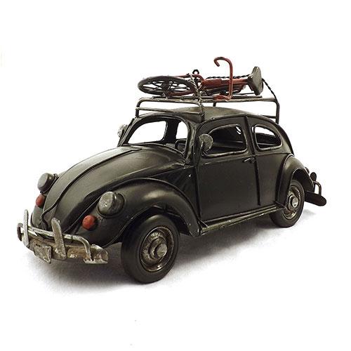 Miniatura de Fusca Preto com Bike - Em Metal - 37x13 cm