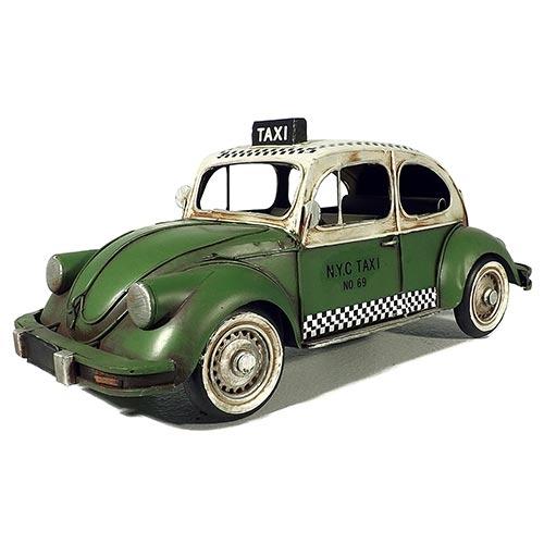 Miniatura de Fusca Taxi Verde Red Crown Oldway - Em Metal - 32x14 cm