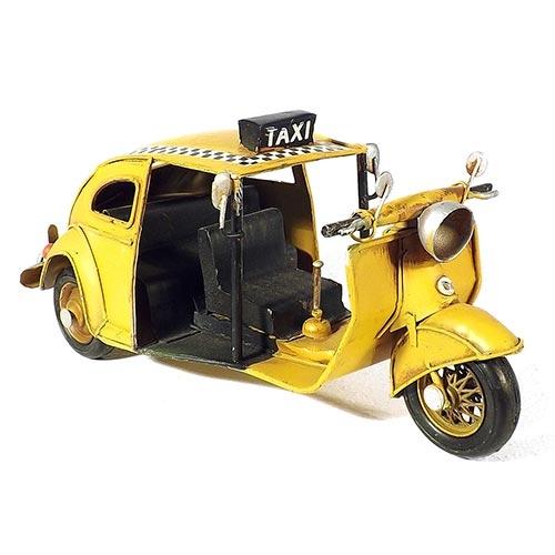Miniatura de Fusca Tuc Tuc Taxi Amarelo Oldway - Em metal - 26x12 cm