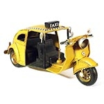 Miniatura de Fusca Tuc Tuc Taxi Amarelo Oldway
