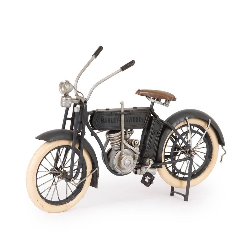 Miniatura Harley Davidson 1909 Preta em Ferro - 28x16 cm