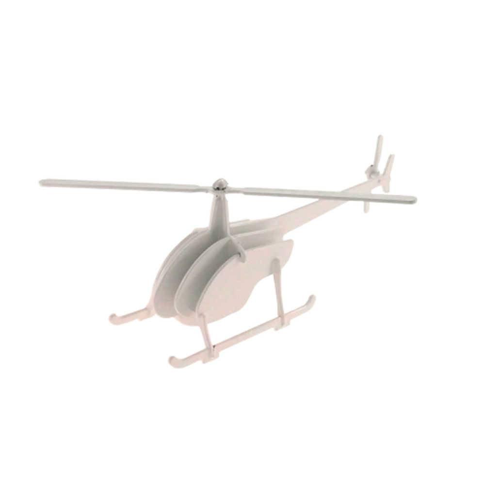 Miniatura Helicóptero 3D Branco em Metal - 30x10 cm