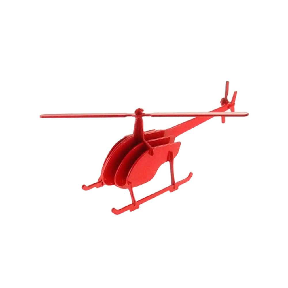 Miniatura Helicóptero 3D Vermelho em Metal - 30x10 cm