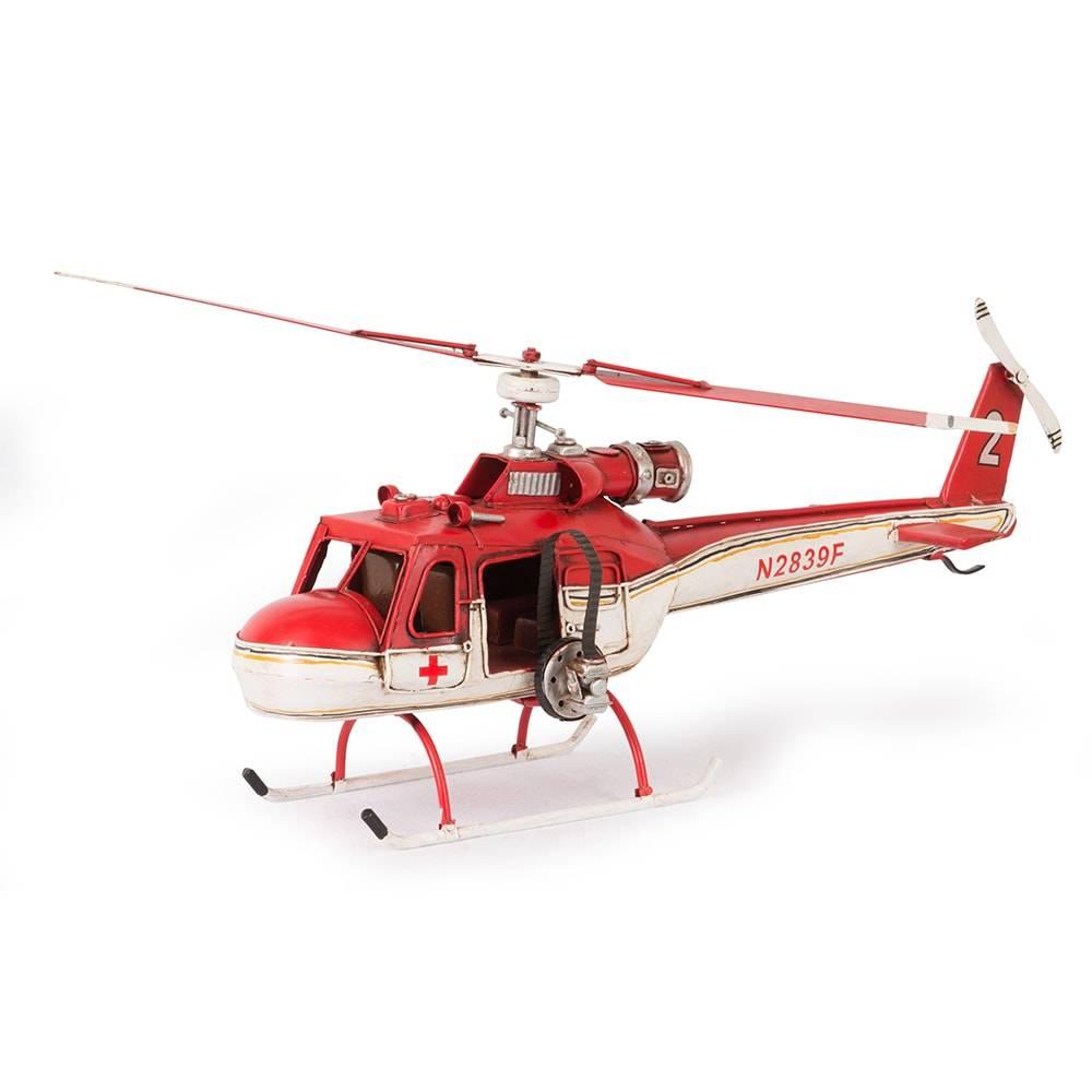 Miniatura Helicóptero Modelo 1962 Red White Bell Plane em Ferro - 42x38 cm