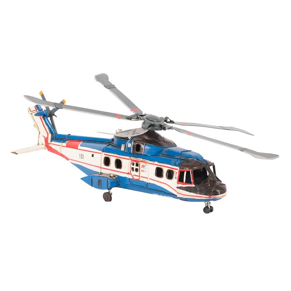 Miniatura Helicóptero Modelo Agusta EH 101 Helicopter Canada Rescue Azul em Ferro - 39x13 cm