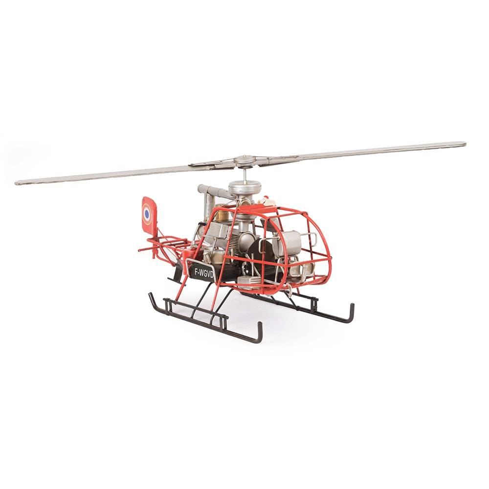 Miniatura Helicóptero Modelo Orange Mono Helicopter in France em Ferro - 36x17 cm