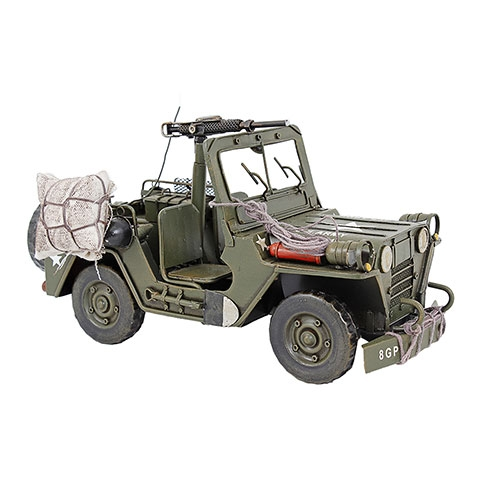 Miniatura Jeep Militar US Army Grande Oldway em Metal - 29x17 cm
