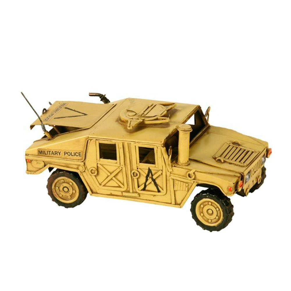 Miniatura Jeep Military Police Verde em Metal - 28x13 cm