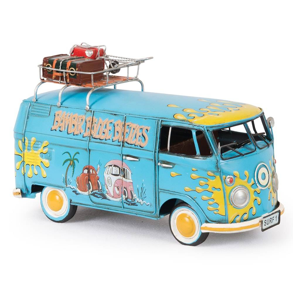 Miniatura Kombi Azul Modelo 1967 VW Deluxe Bus em Ferro - 32x18 cm
