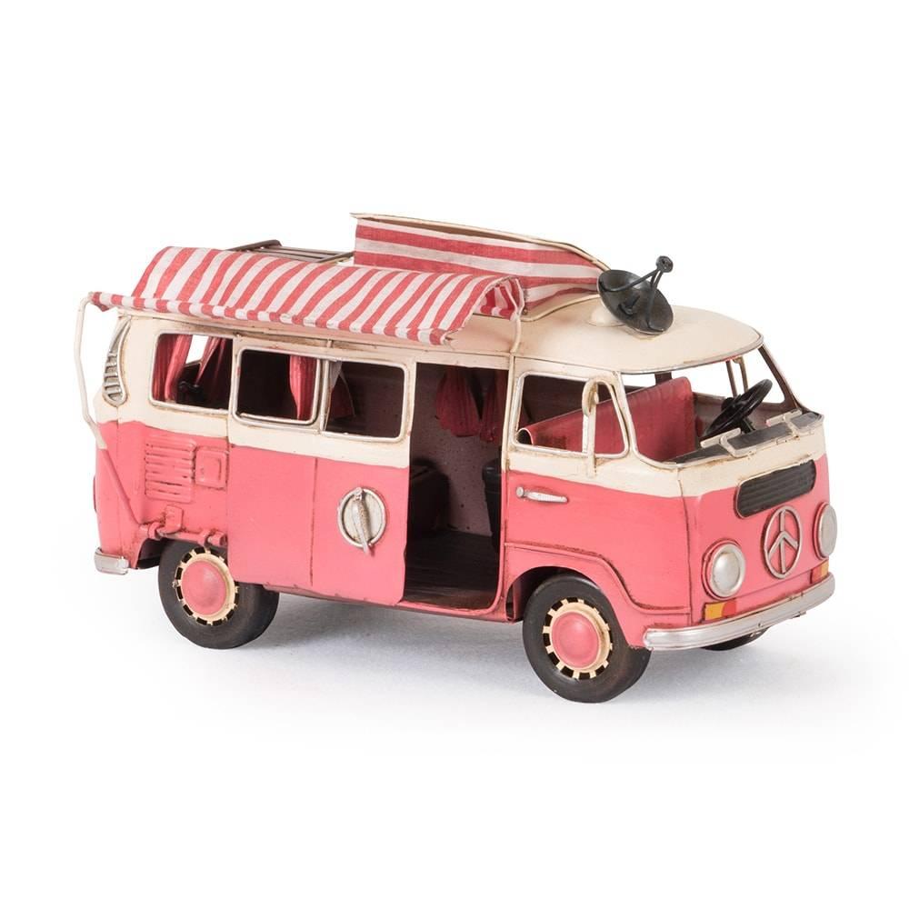 Miniatura Kombi Rosa Modelo 1966 Vw Deluxe Bus em Ferro - 25x15 cm