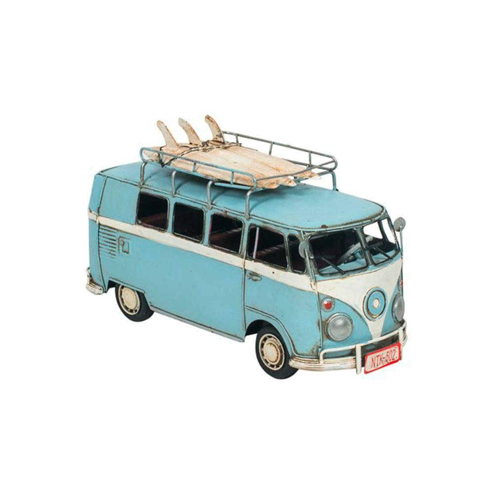 Miniatura Kombi Surf Azul e Branco em Metal - 31x19 cm
