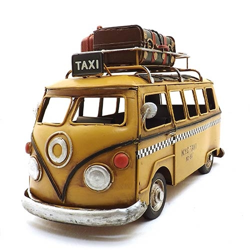 Miniatura de Kombi Taxi Amarelo Oldway - Em Metal - 27x19 cm