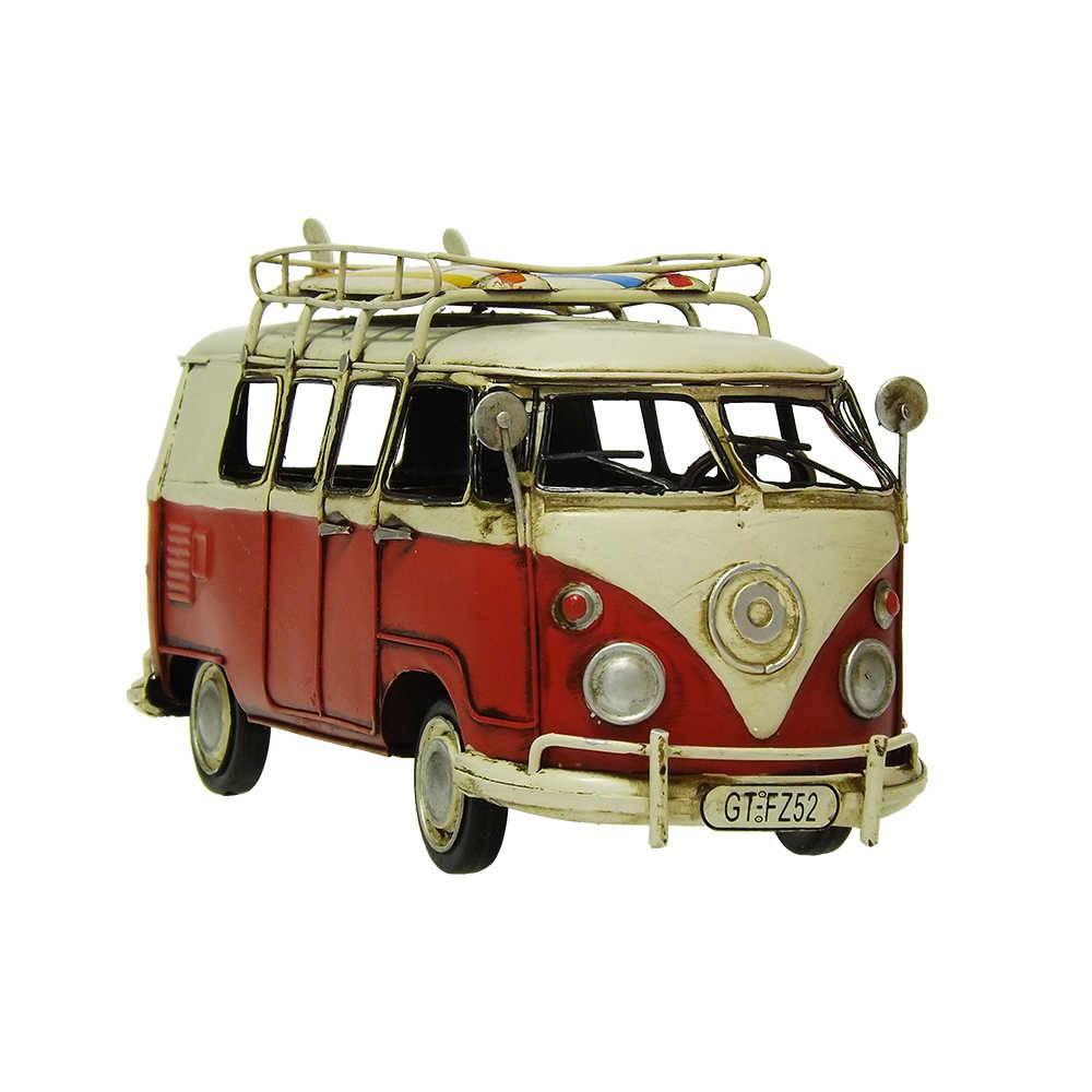Miniatura Kombi Vermelha Modelo 1966 VW Delux Bus em Ferro - 27x14 cm