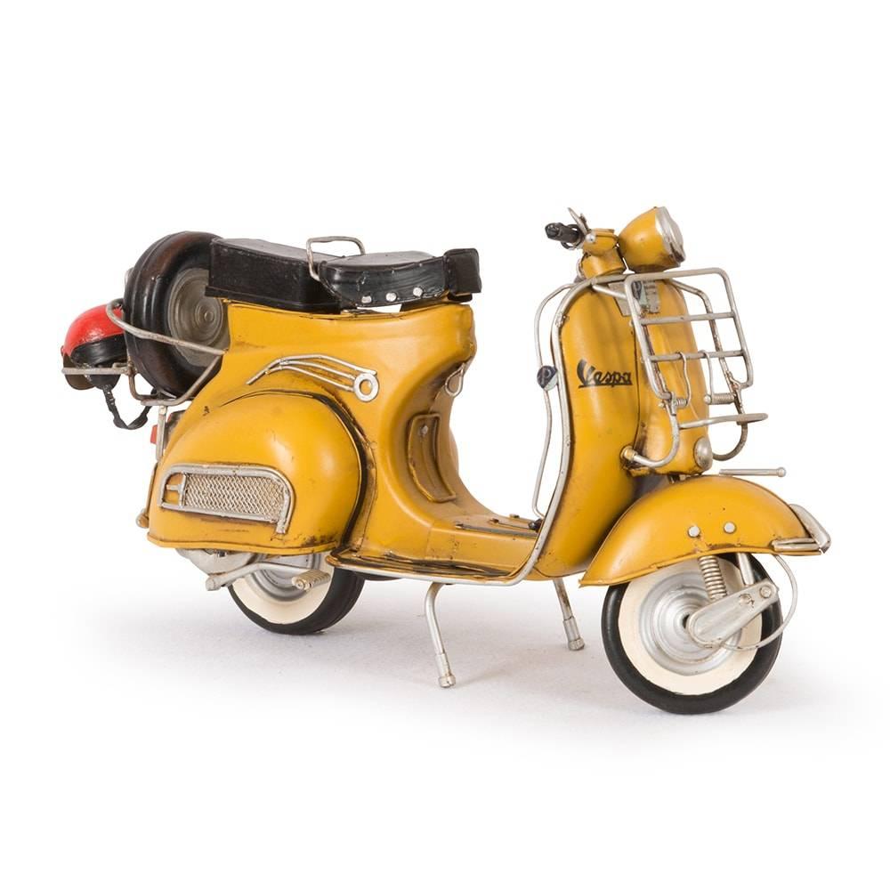 Miniatura Lambreta 1959 Vespa GS 150 Amarelo em Ferro - 31x17 cm