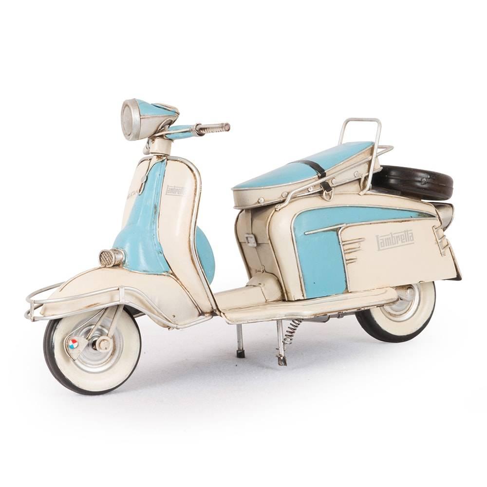 Miniatura Lambreta Li 150 Special Blue 1965 em Ferro - 34x18 cm