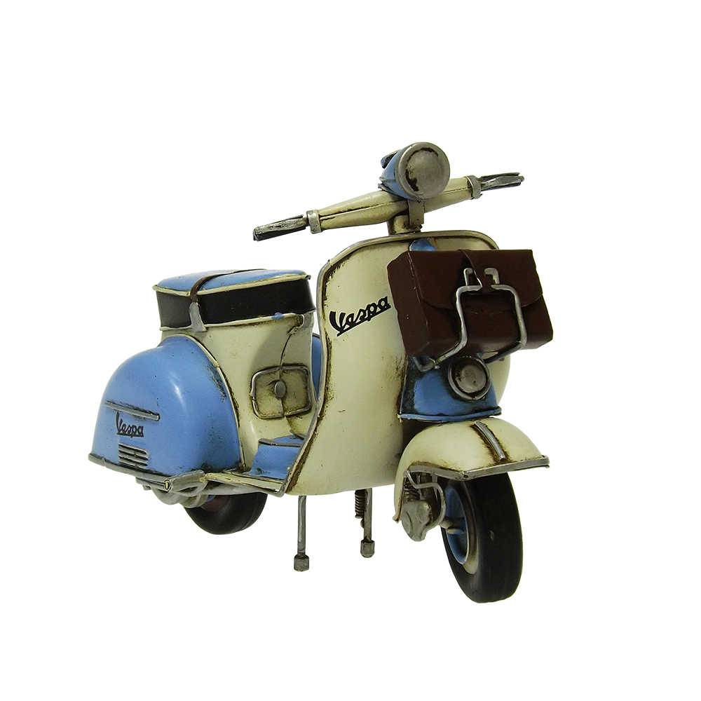 Miniatura Lambreta Light Blue Messerschmitt Vespa M 55 Grand Sport em Ferro - 22x13 cm