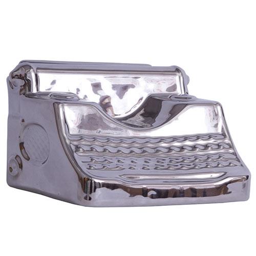 Miniatura Máquina de Escrever Silver em Cerâmica - 20x13 cm