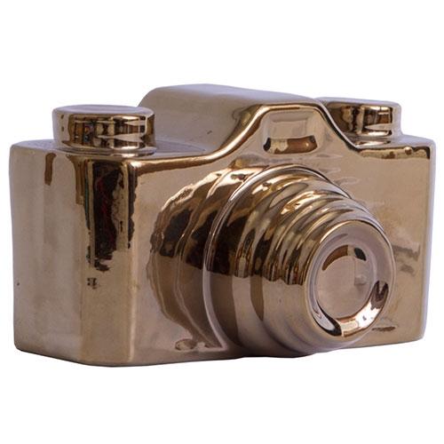 Miniatura Máquina Fotográfica Ceramic Golden - 15x9 cm