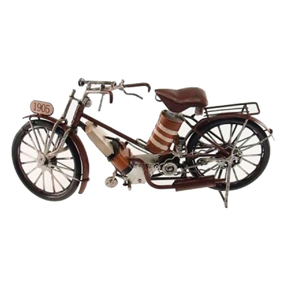 Miniatura de Moto Antiga 1905 Marrom em Metal - 30x16 cm