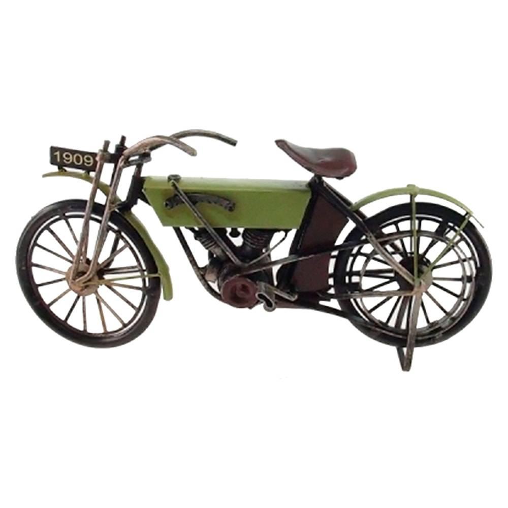 Miniatura de Moto Antiga 1909 Verde em Metal - 30x13 cm