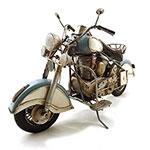 Miniatura Moto Antiga Branco/Azul Grande Oldway