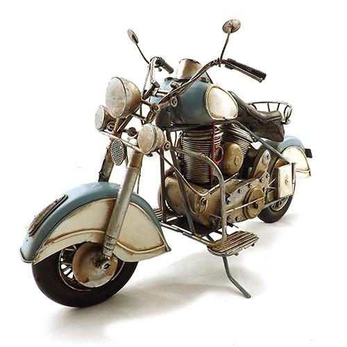 Miniatura Moto Antiga Branco/Azul Grande Oldway - Metal 38x23cm