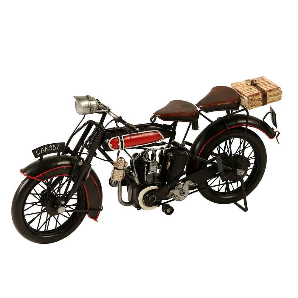 Miniatura de Moto Can 357 Vermelha/Preta em Metal - 32x14 cm