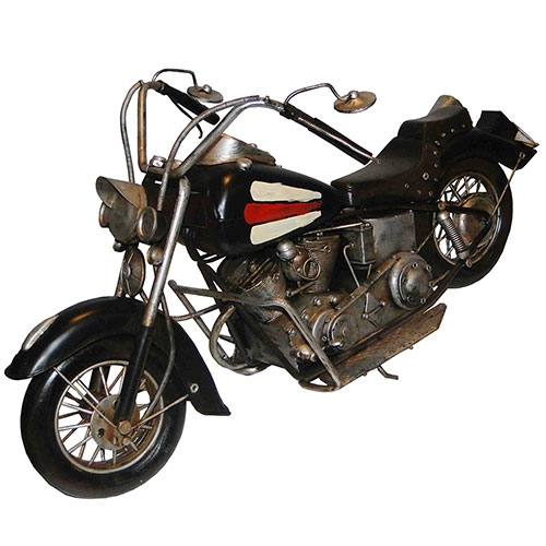 Miniatura de Moto GD Preta Oldway -  Em Metal - 60x33 cm