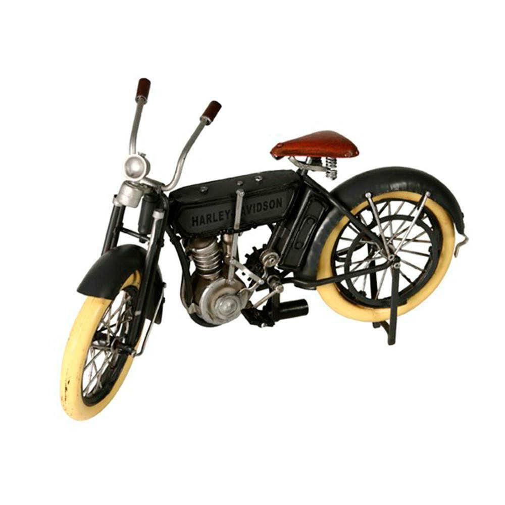 Miniatura Moto Harley Davidson Cinza em Metal - 30x17 cm