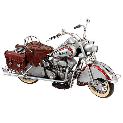 Miniatura de Moto Indian Prata Oldway Grande - Metal - 22x39cm
