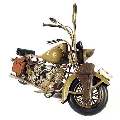 Miniatura de Moto Militar Oldway - Em Metal - 43x25 cm