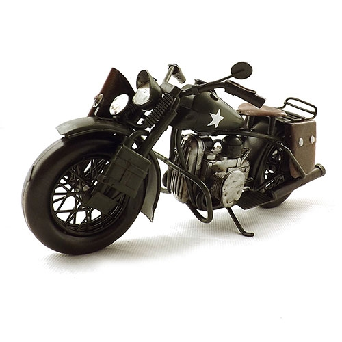 Miniatura de Moto Militar WLA 1942 Green Harley-Davidson - Oldway 20x12cm