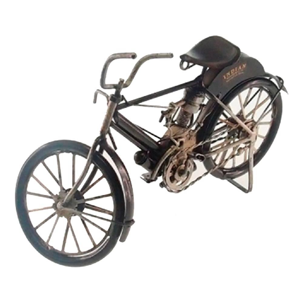 Miniatura de Moto Old Indian 1990 Preta em Metal - 26x14 cm