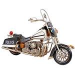 Miniatura Moto Police Tanque Branco Oldway - em Metal Grande - 57x37cm