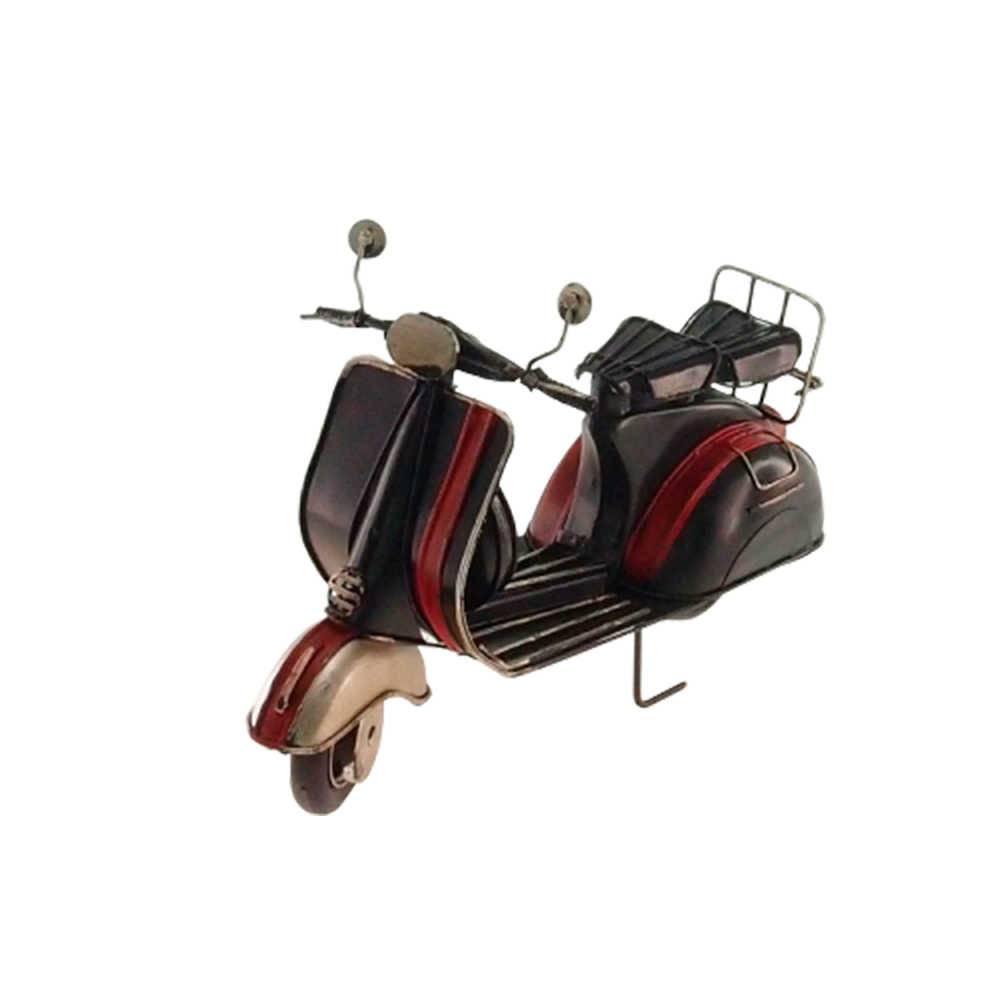 Miniatura de Moto Preta e Vermelha em Metal - 28x16 cm