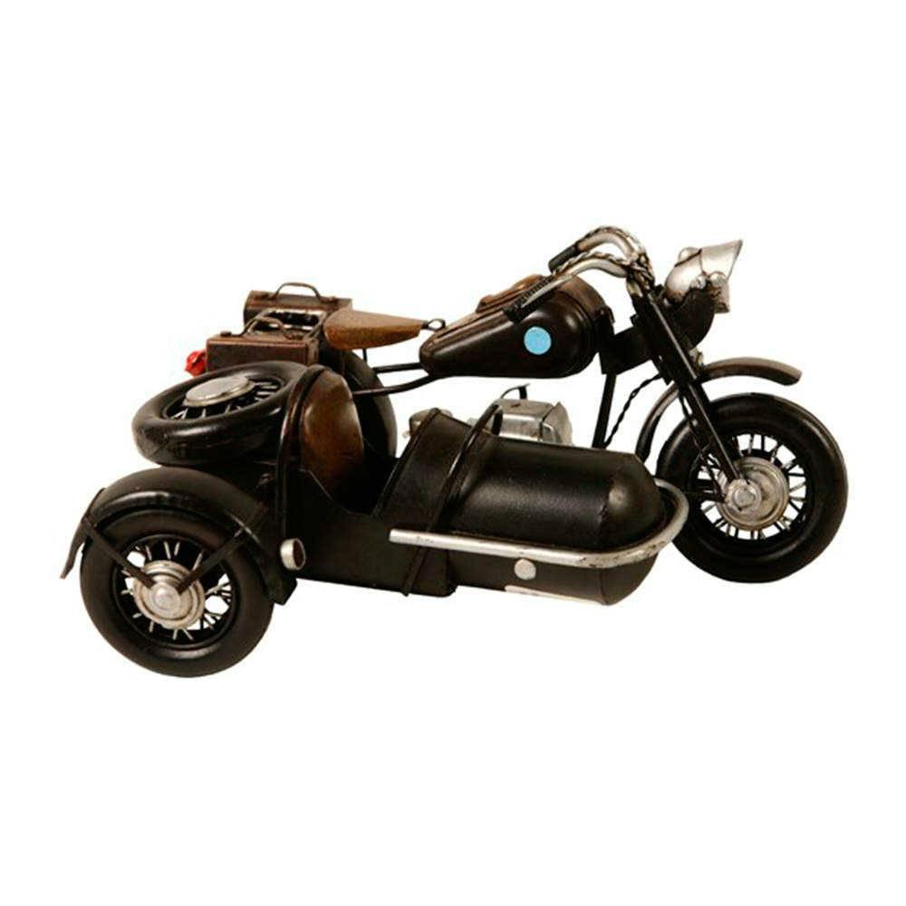 Miniatura de Moto Triciclo Preta em Metal - 22x16 cm