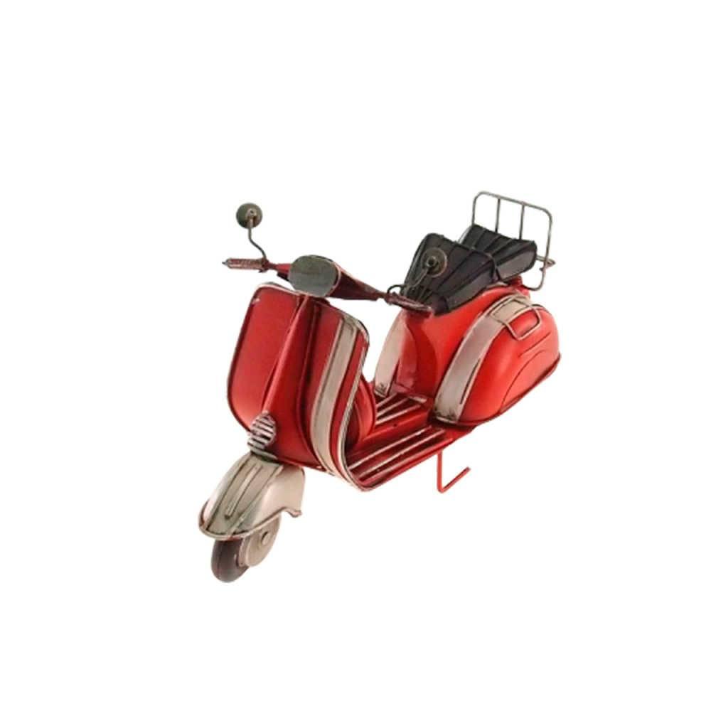 Miniatura de Moto Vermelha e Branca em Metal - 28x16 cm