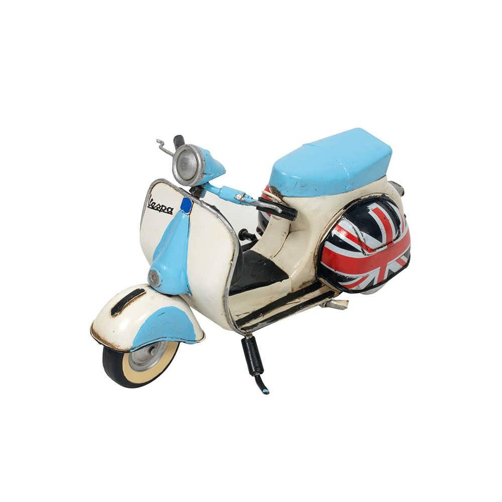 Miniatura Moto Vespa GS150 Ano 1959 Azul e Branca em Metal - 30x16 cm