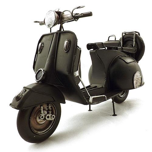Miniatura de Moto Vespa Preta Oldway - Pneu Reserva - 30x20cm