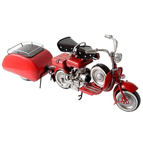 Miniatura Moto Vespa Vermelha Oldway com estepe e reboque - Metal - 37x15cm