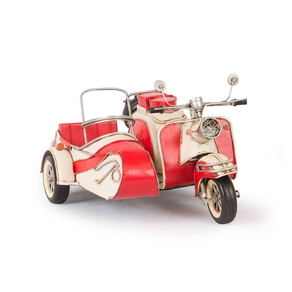 Miniatura Motocicleta 1959 Red White IWL Berlin 1500 com Sidecar Vermelha em Ferro - 29x21 cm