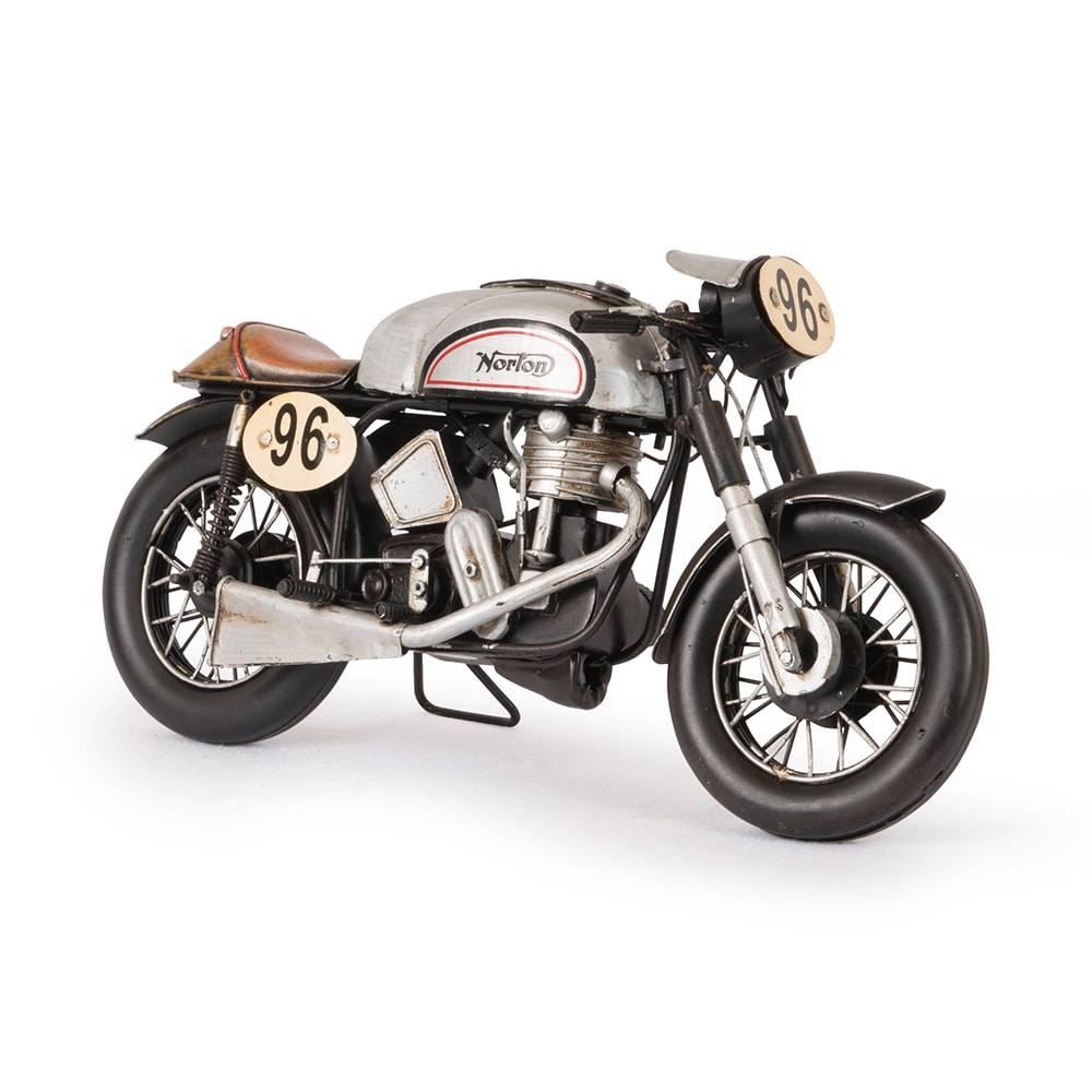 Miniatura Motocicleta 1962 Norton 500CC Manx Prateada em Ferro - 29x17 cm