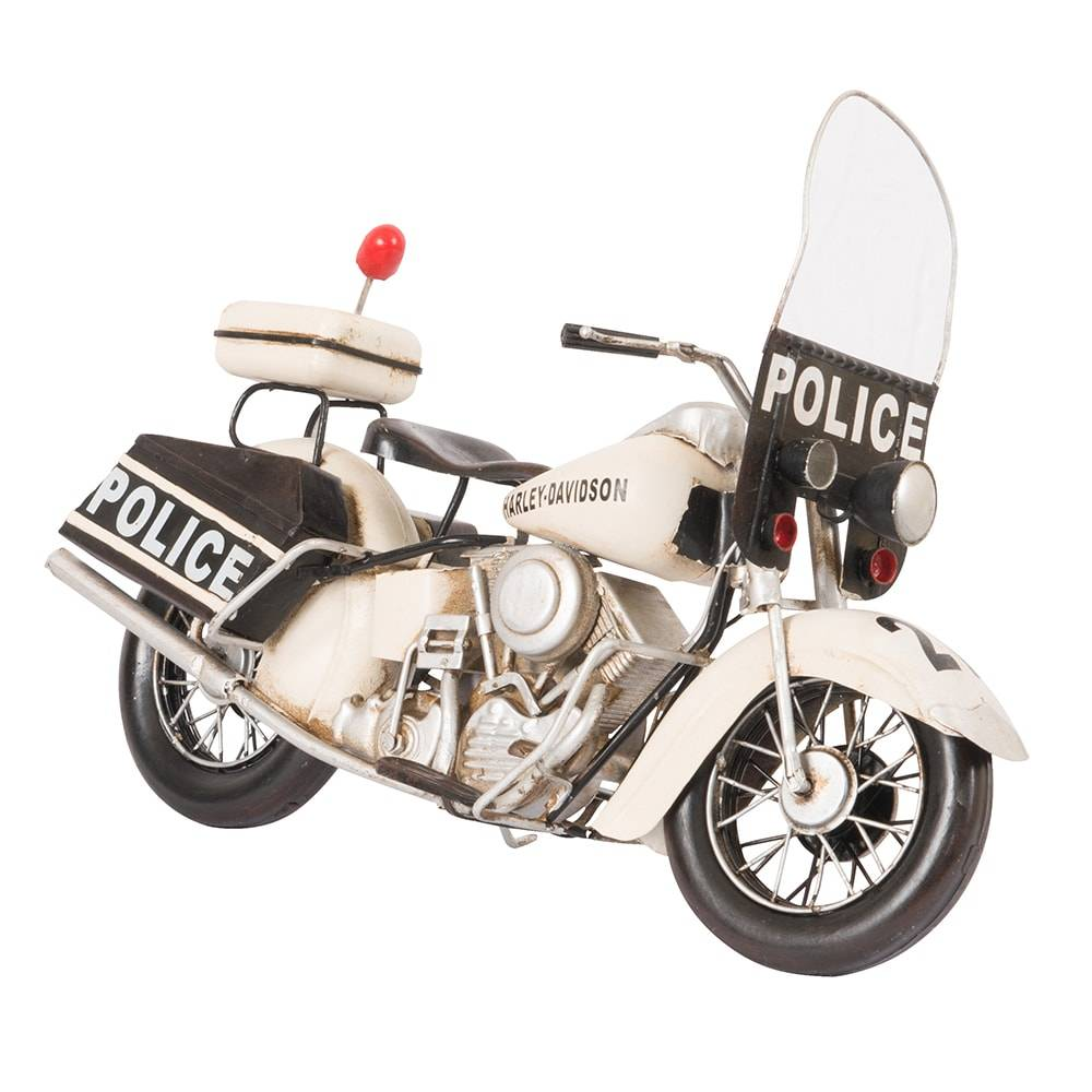 Miniatura Motocicleta 1976 Harley Davidson Electra Glide Police em Ferro - 33x21 cm