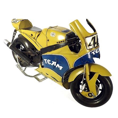 Miniatura de Motocicleta Amarela 2006 Yamaha YZR-M1 Oldway - Em Metal - 38x23 cm