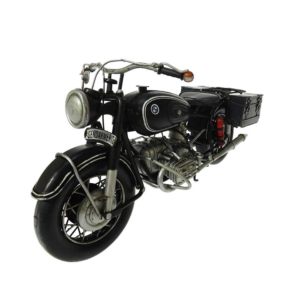 Miniatura Motocicleta BMW R60-2 Gendarmerie com Sidecar Preta em Ferro - 31x15 cm