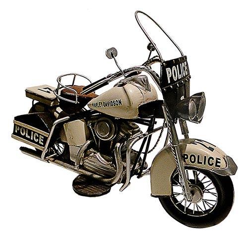 Miniatura de Motocicleta Branca Harley-Davidson de Polícia Oldway - Em Metal - 37x25cm