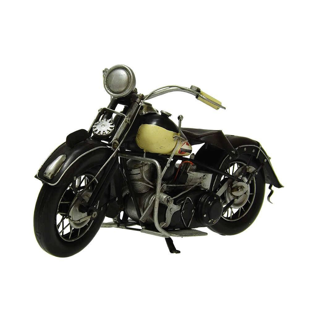 Miniatura Motocicleta Harley Davidson Modelo 1939 White EL 1000 em Ferro - 32x18 cm